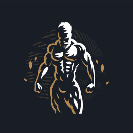 Fitness man with muscles looks down and works out. Vector illustration. Stock Illustratie