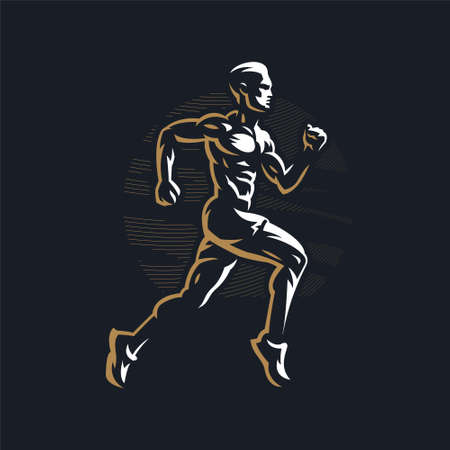 Fitness man with muscles trains. Runner. Run. Vector illustration.