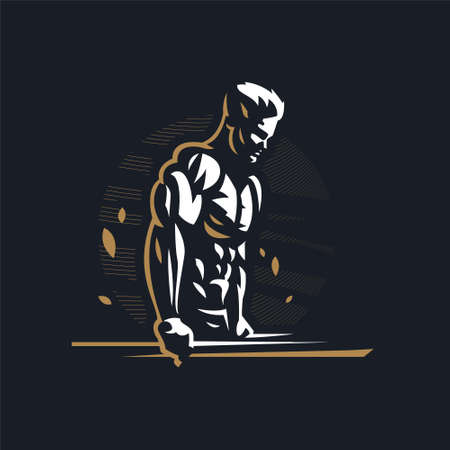 Fitness man with muscles trains on uneven bars. Vector illustration.