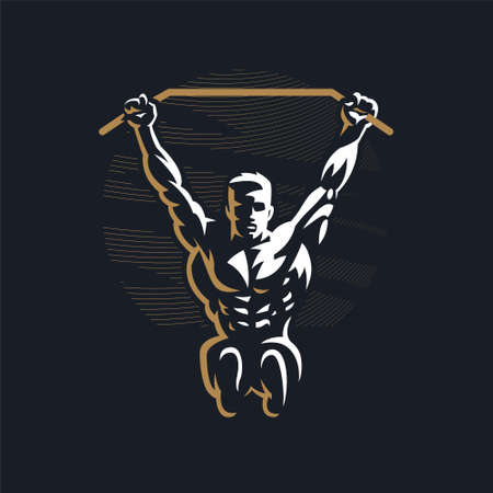 Fitness man with muscles trains. Pulls up on the horizontal bar. Vector illustration.