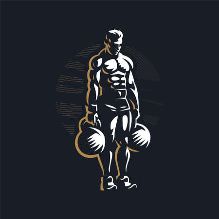 Fitness man with muscles trains with large kettlebell. Vector illustration.