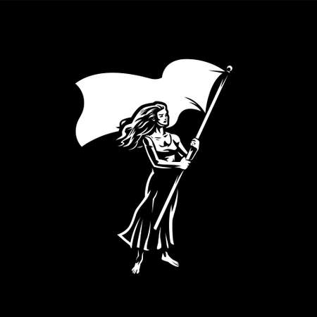 Woman with a flag. A woman waves a large flag. Protest, meeting, demonstration, voting. Stock Illustratie