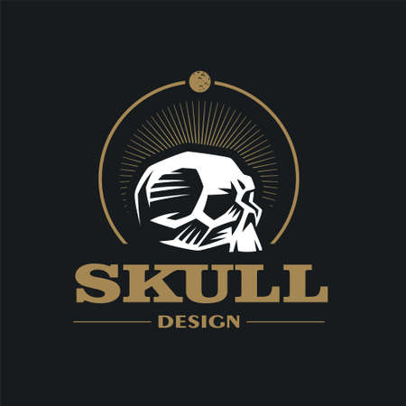 Skull stylized illustration. Human skull in the form of an emblem. Moon.