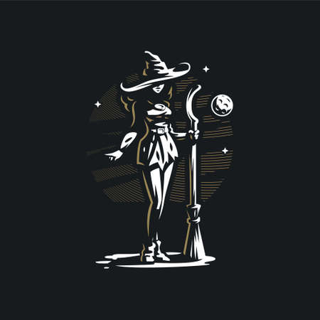 A woman witch with a broom in a hat, stands at night under the moon and stars. Stylized vector illustration.