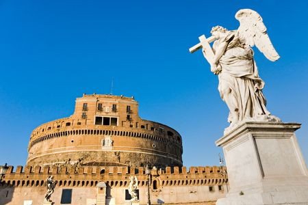 castel: Castel Santangelo and Berninis statue on the bridge, Rome, Italy. Stock Photo