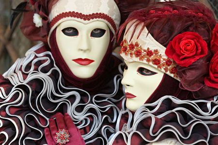 Venice Masks, Carnival. Focus on the right mask. photo