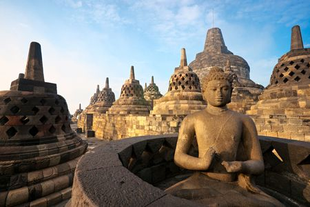 Borobudur Temple at sunrise. Yogyakarta, Java, Indonesia.