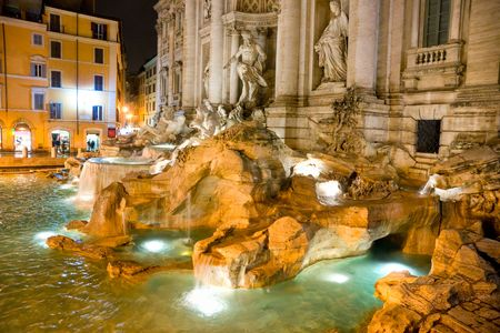 The Famous Trevi Fountain at night, rome, Italy. photo
