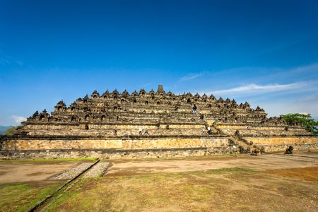buddhist temple: Borobudur Temple at sunset. Yogyakarta, Java, Indonesia.