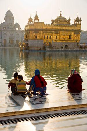 sanskrit: Details of Golden Temple in Amritsar, Punjab, India. Stock Photo