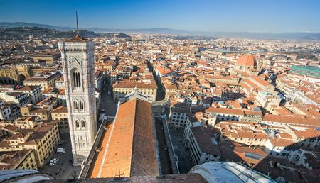 medici: Florence, view of Duomo and Giottos bell tower, and Santa croce, Tuscany, Italy.