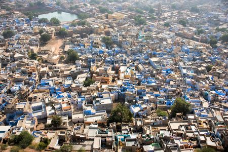 View of Jodhpur, the blue city. From the Mehrangarh fort. photo
