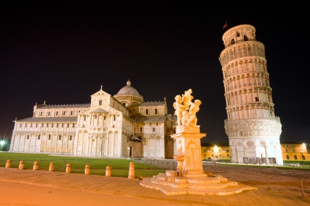 Pisa, Piazza dei miracoli, with the Basilica and the leaning tower at night