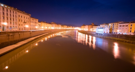miracle square: Pisa, night view of lungarno  Tuscany, Italy
