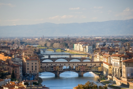 Panoramic view of Florence and Ponte Vecchio