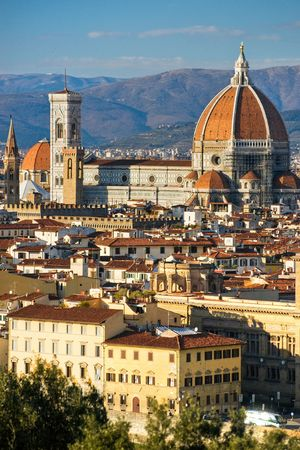 Panoramic view of Florence from Ponte Vecchio. Stock Photo - 6198349