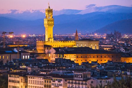 palazzo: View of Florence, Palazzo della Signoria from Piazzale Michelangelo. Stock Photo