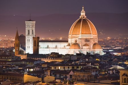 Florence,  Night view of the Duomo and Giottos Campanile. photo