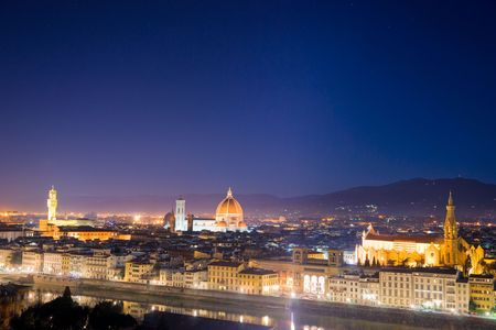 Florence, night view of Santa croce, piazza della Signoriaand Duomo.from Piazzale Michelangelo. photo