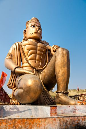 hindu god: Great bronze Hanuman statue near Delhi, India. Stock Photo