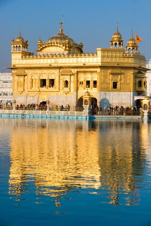 amritsar: The beautiful  Golden Temple in Amritsar, Punjab, India.