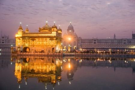 sikhism:  Golden Temple at twilight, Amritsar, Punjab, India