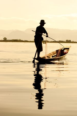 myanmar: Silhouette of Fisherman in inle lake, Myanmar.