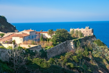 View of Portoferraio old city, with the Forte Stella and the Napoleon Villa  Isle of Elba, Livorno, Italy Stock Photo - 17325113