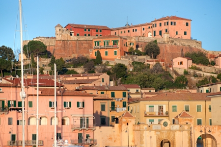 View of Portoferraio old city, with the Forte Stella and the Napoleon Villa  Isle of Elba, Livorno, Italy  Stock Photo - 17325068