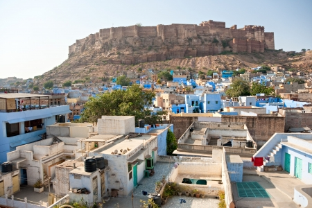 View of Jodhpur, the blue city and the Mehrangarh fort  photo