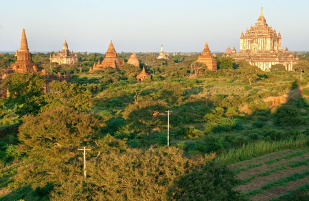 The plain of Bagan at sunset, Myanmar  photo
