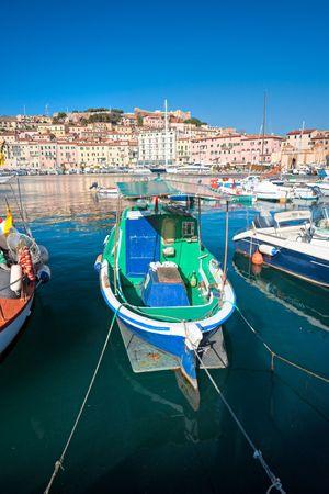 View of Portoferraio old city, with the Forte Stella and the Napoleon Villa. Isle of Elba, Livorno, Italy. photo