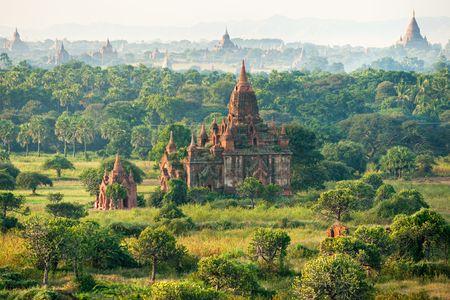 stupas:  U bein bridge at Amarapura ,Mandalay, Myanmar.