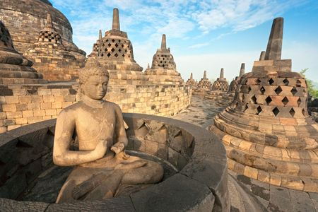 Borobudur Temple at sunset. Yogyakarta, Java, Indonesia. Stock Photo - 6649461