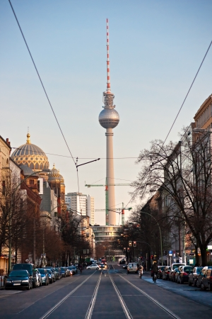 Television tower and mosque in Berlin, Germany