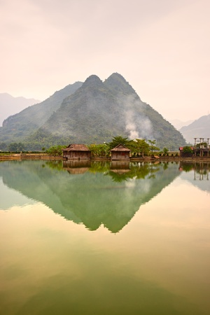 Beautiful sunset in Mai Chau Valley, North Vietnam. Stock Photo