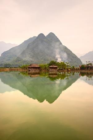 vietnam: Beautiful sunset in Mai Chau Valley, North Vietnam. Stock Photo