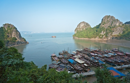 fishing village: Halong Bay, Vietnam  Unesco World Heritage Site  Most popular place in Vietnam  Stock Photo