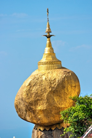 the stupa: Golden Rock, one of the most sacred buddhist stupa, Kyaiktiyo Pagoda, Myanmar.