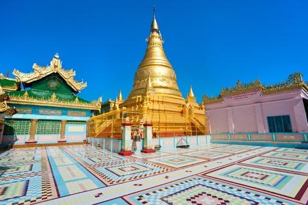 banian: Golden pagoda in sagaing hill, Mandalay, myanmar.