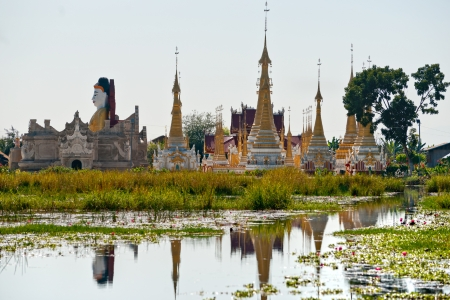 inle: Buddhist temple in Inle lake,  Myanmar