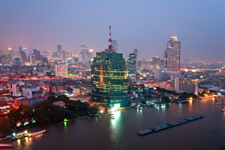 silom: Night View of Bangkok, Thailand.