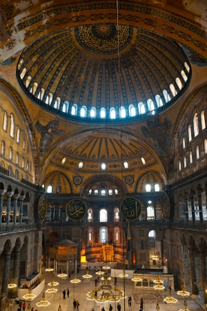 The beautiful decorated cupola of Hagia Sophia mosque, Istanbul, Turkey
