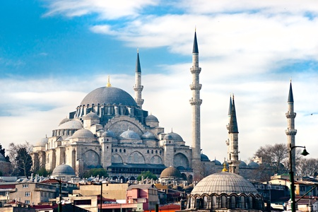 the blue domes: The beautiful Süleymaniye Camii  Istanbul, Turkey.