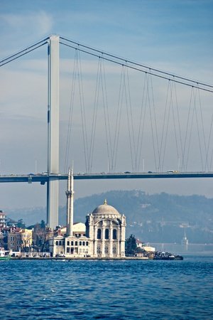 turkey istanbul: Ortakoy mosque and Bosphorus bridge, Istanbul, Turkey.