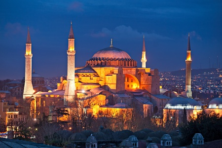 hagia sophia: Hagia Sophia mosque in sultanahmet, Istanbul, Turkey. Stock Photo