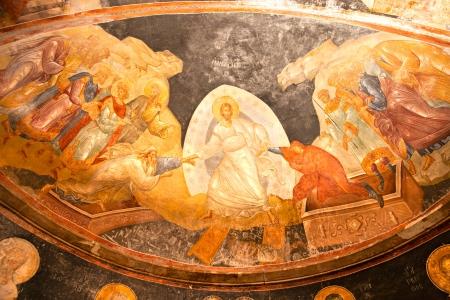 chora: Painting inside Chora museum,  Kariye Church  Istanbul, Turkey  Editorial