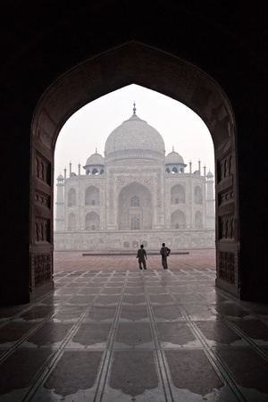 pradesh: Panoramic view of Taj Mahal at sunrise, Agra, Uttar Pradesh, India.