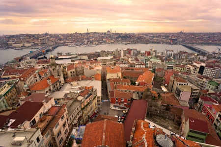 turkey istanbul: Sunset over Istanbul from Galata tower, Turkey.