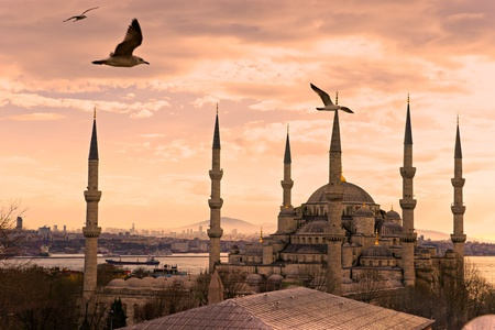 historic: The Blue Mosque, (Sultanahmet Camii), Istanbul, Turkey. Stock Photo